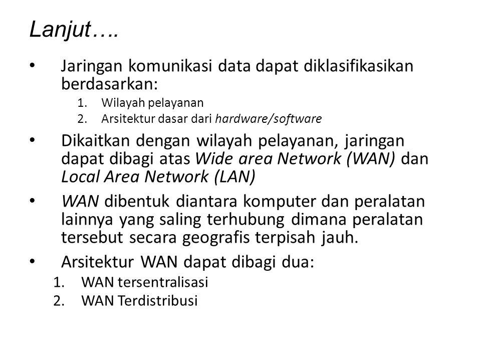 Lanjut…. Jaringan komunikasi data dapat diklasifikasikan berdasarkan: