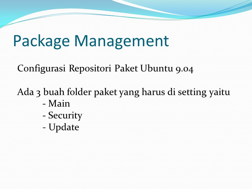 Package Management Configurasi Repositori Paket Ubuntu 9.04