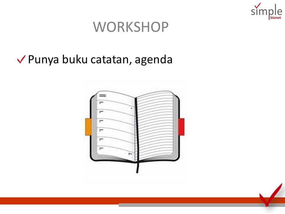 WORKSHOP Punya buku catatan, agenda