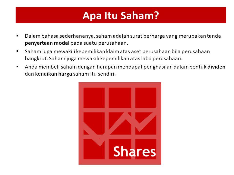 Apa Itu Saham Dalam bahasa sederhananya, saham adalah surat berharga yang merupakan tanda penyertaan modal pada suatu perusahaan.