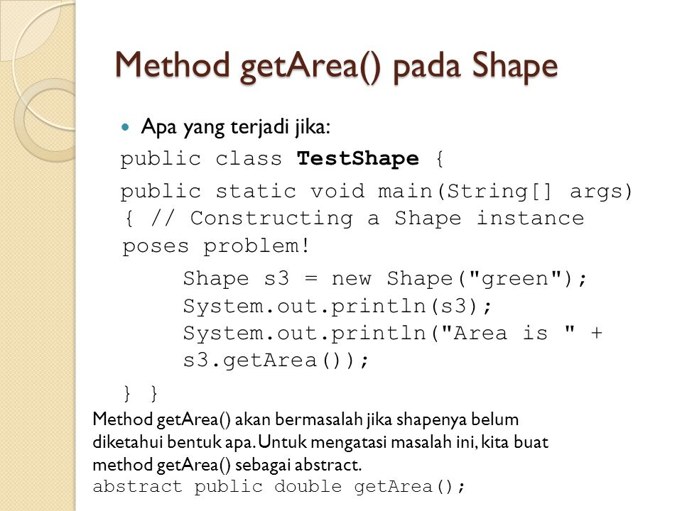 Method getArea() pada Shape