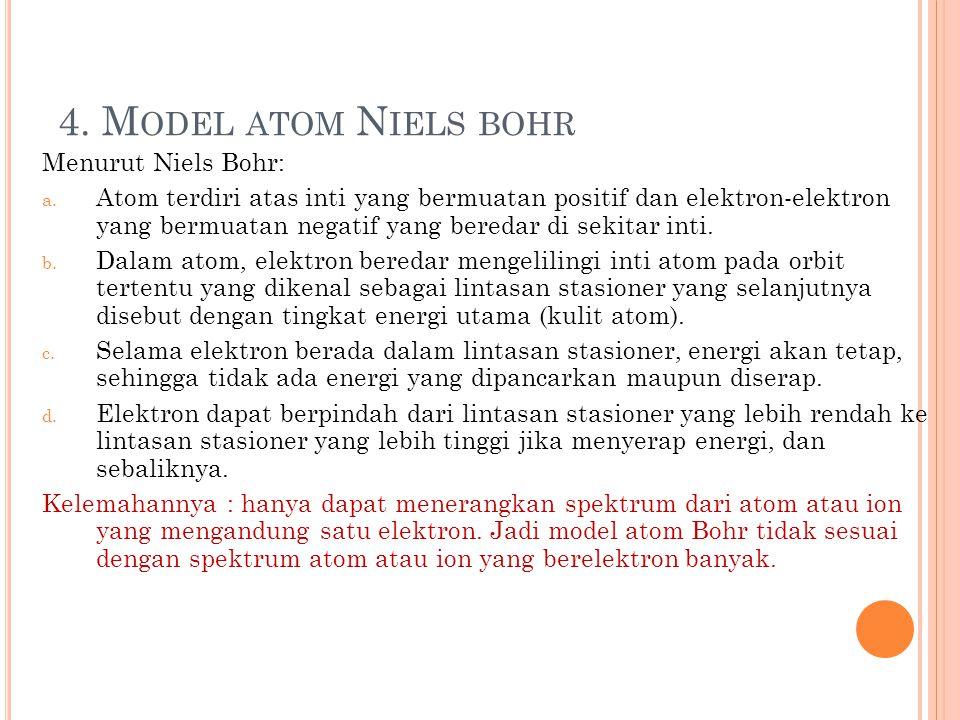 4. Model atom Niels bohr Menurut Niels Bohr: