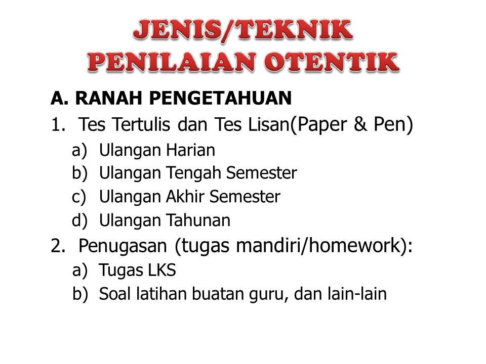 1. Tes Tertulis dan Tes Lisan(Paper & Pen)
