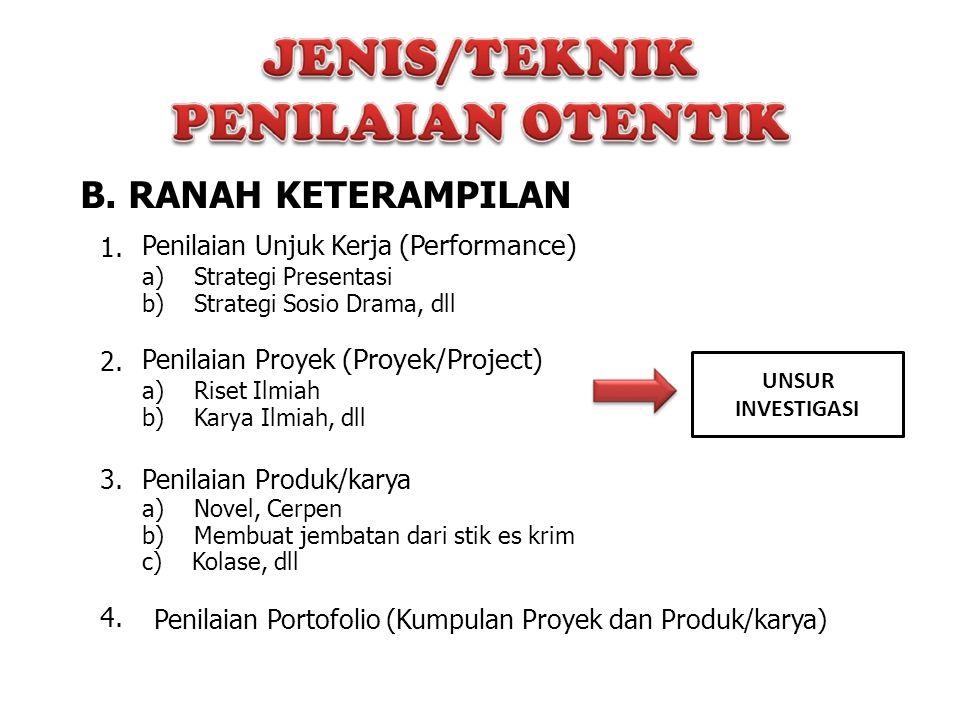 B. RANAH KETERAMPILAN 1. Penilaian Unjuk Kerja (Performance) 2.