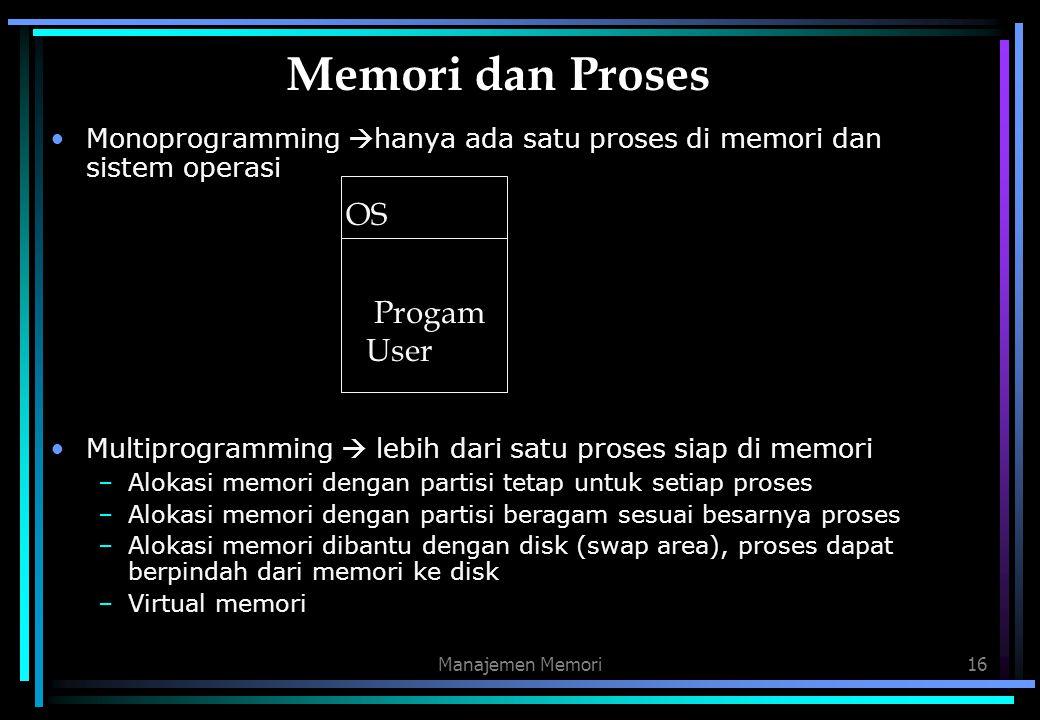 Memori dan Proses OS Progam User