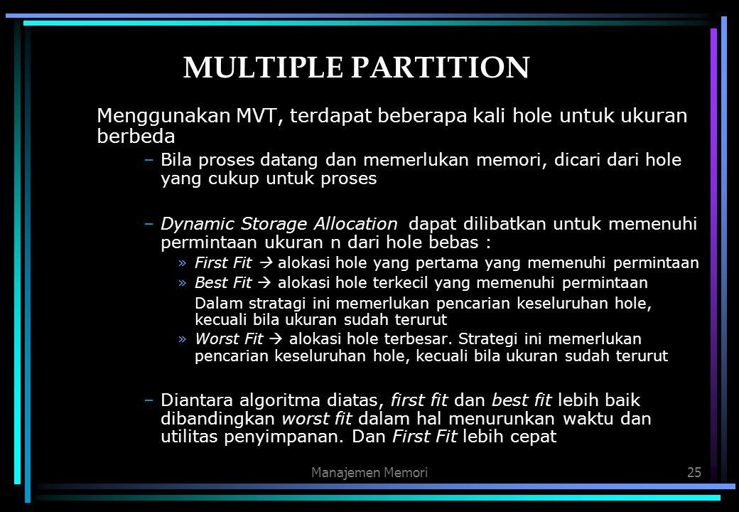 MULTIPLE PARTITION Menggunakan MVT, terdapat beberapa kali hole untuk ukuran berbeda.