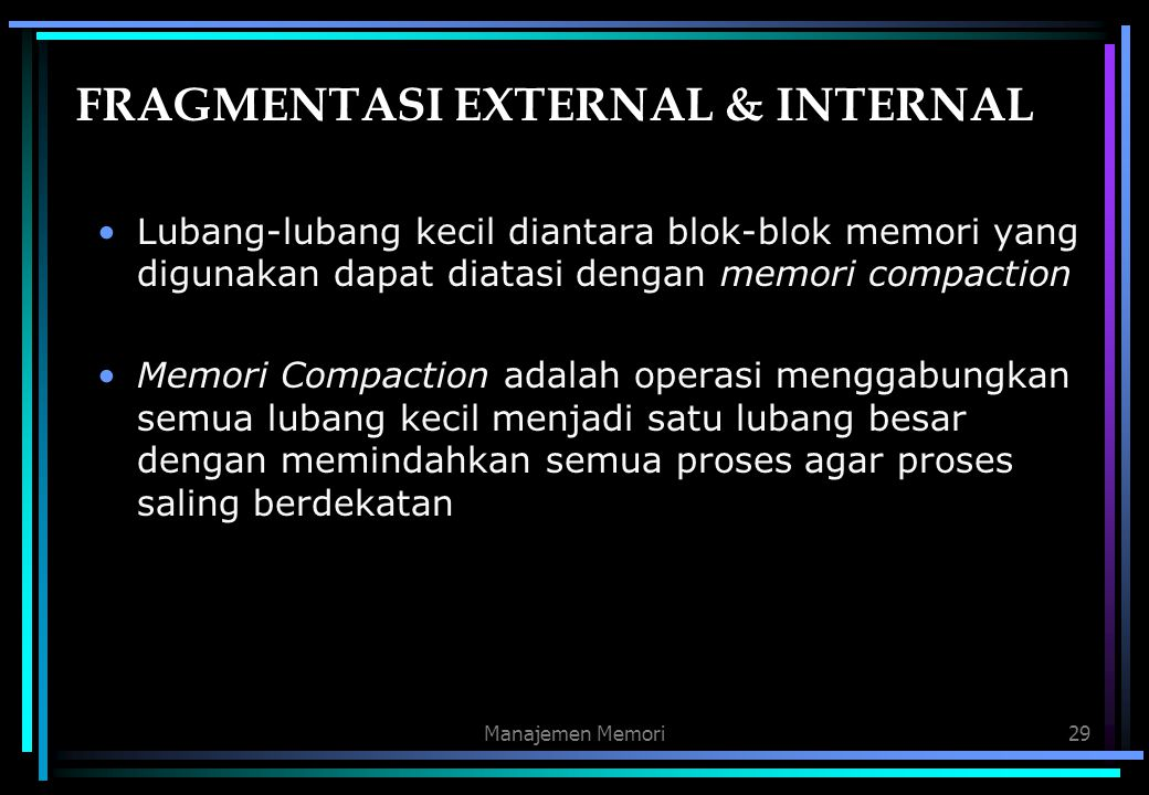 FRAGMENTASI EXTERNAL & INTERNAL