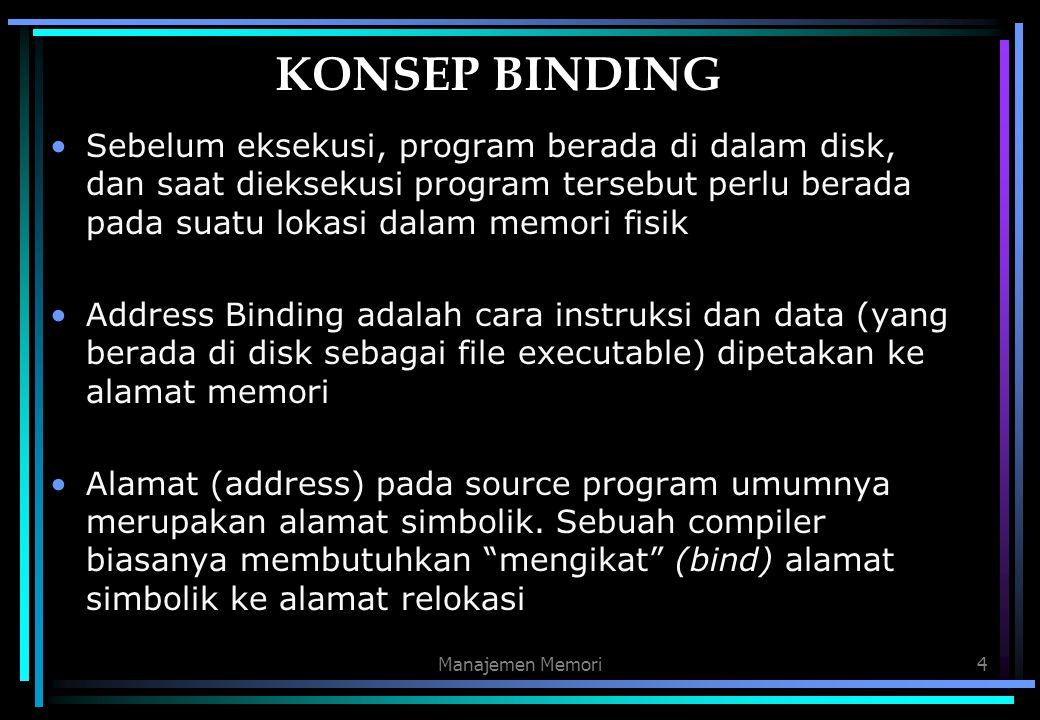 KONSEP BINDING Sebelum eksekusi, program berada di dalam disk, dan saat dieksekusi program tersebut perlu berada pada suatu lokasi dalam memori fisik.