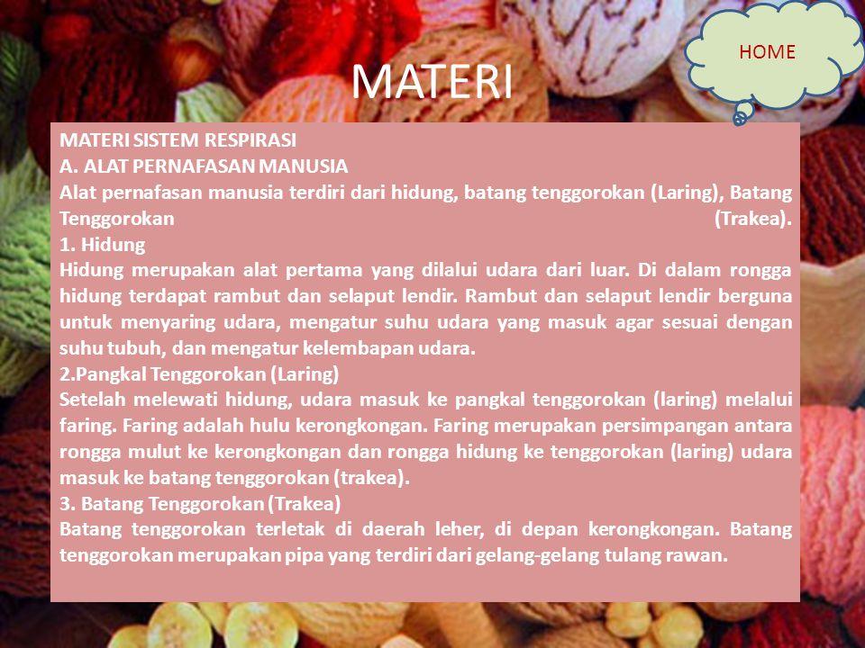 MATERI HOME MATERI SISTEM RESPIRASI A. ALAT PERNAFASAN MANUSIA