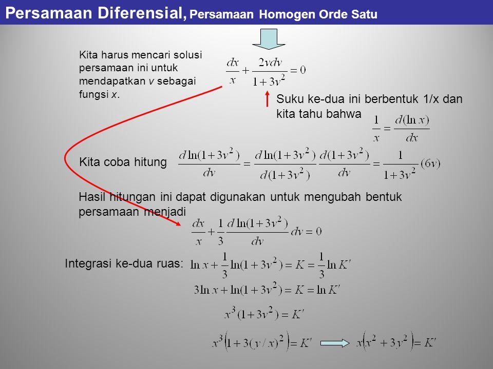 Persamaan Diferensial, Persamaan Homogen Orde Satu
