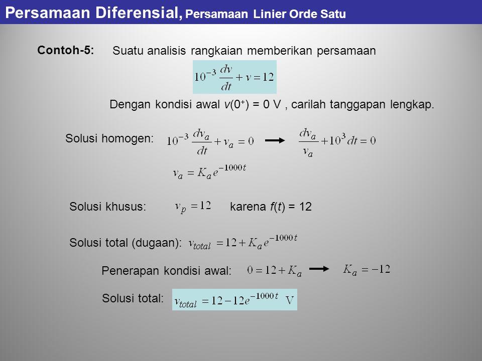 Persamaan Diferensial, Persamaan Linier Orde Satu