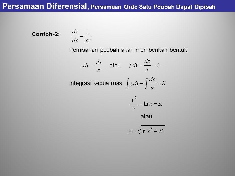 Persamaan Diferensial, Persamaan Orde Satu Peubah Dapat Dipisah