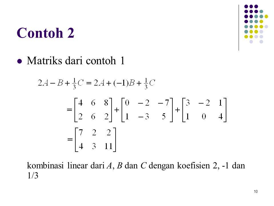 Contoh 2 Matriks dari contoh 1