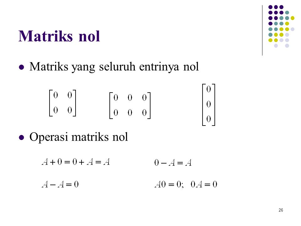 Matriks nol Matriks yang seluruh entrinya nol Operasi matriks nol