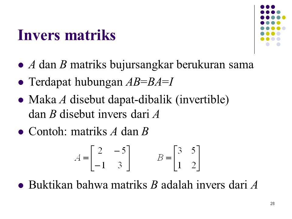 Invers matriks A dan B matriks bujursangkar berukuran sama