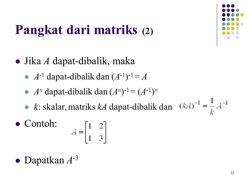 Pangkat dari matriks (2)