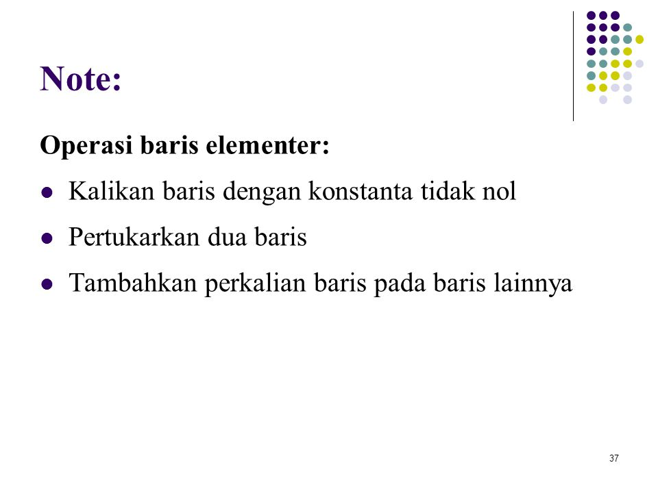 Note: Operasi baris elementer: