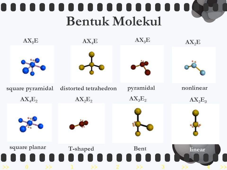 Bentuk Molekul AX5E square pyramidal AX4E distorted tetrahedron AX3E