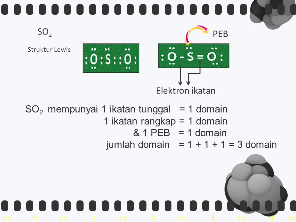 SO2 mempunyai 1 ikatan tunggal = 1 domain 1 ikatan rangkap = 1 domain