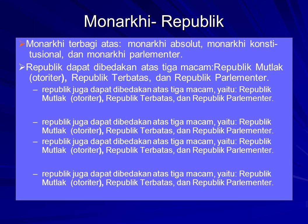 Monarkhi- Republik Monarkhi terbagi atas: monarkhi absolut, monarkhi konsti-tusional, dan monarkhi parlementer.