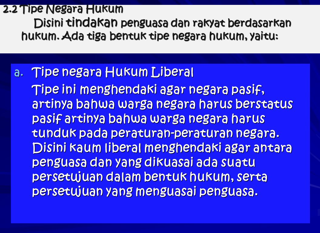 Tipe negara Hukum Liberal