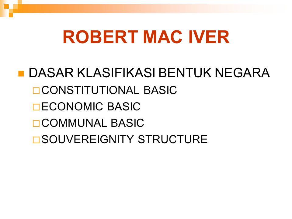 ROBERT MAC IVER DASAR KLASIFIKASI BENTUK NEGARA CONSTITUTIONAL BASIC