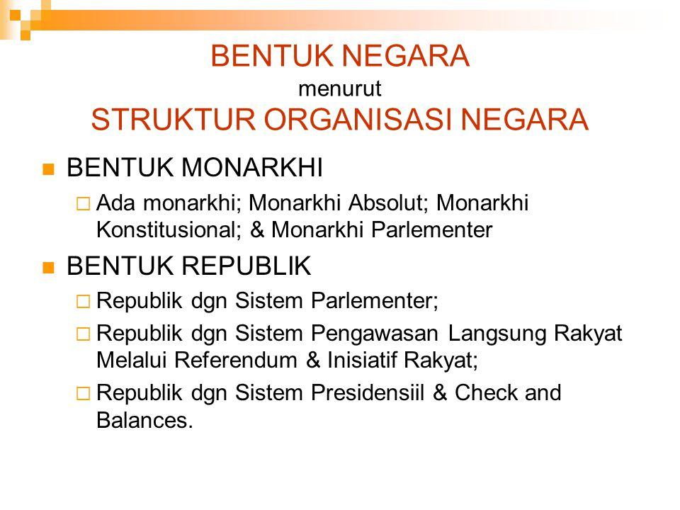 BENTUK NEGARA menurut STRUKTUR ORGANISASI NEGARA
