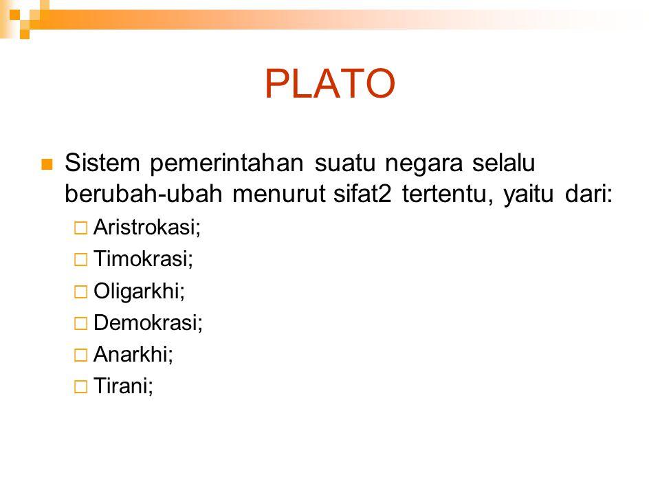 PLATO Sistem pemerintahan suatu negara selalu berubah-ubah menurut sifat2 tertentu, yaitu dari: Aristrokasi;