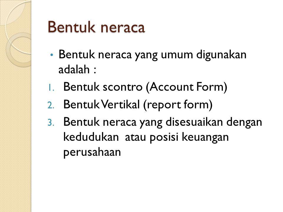 Bentuk neraca Bentuk neraca yang umum digunakan adalah :