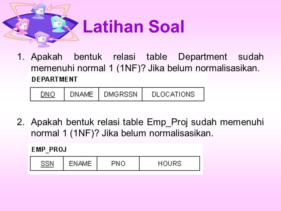 Latihan Soal Apakah bentuk relasi table Department sudah memenuhi normal 1 (1NF) Jika belum normalisasikan.