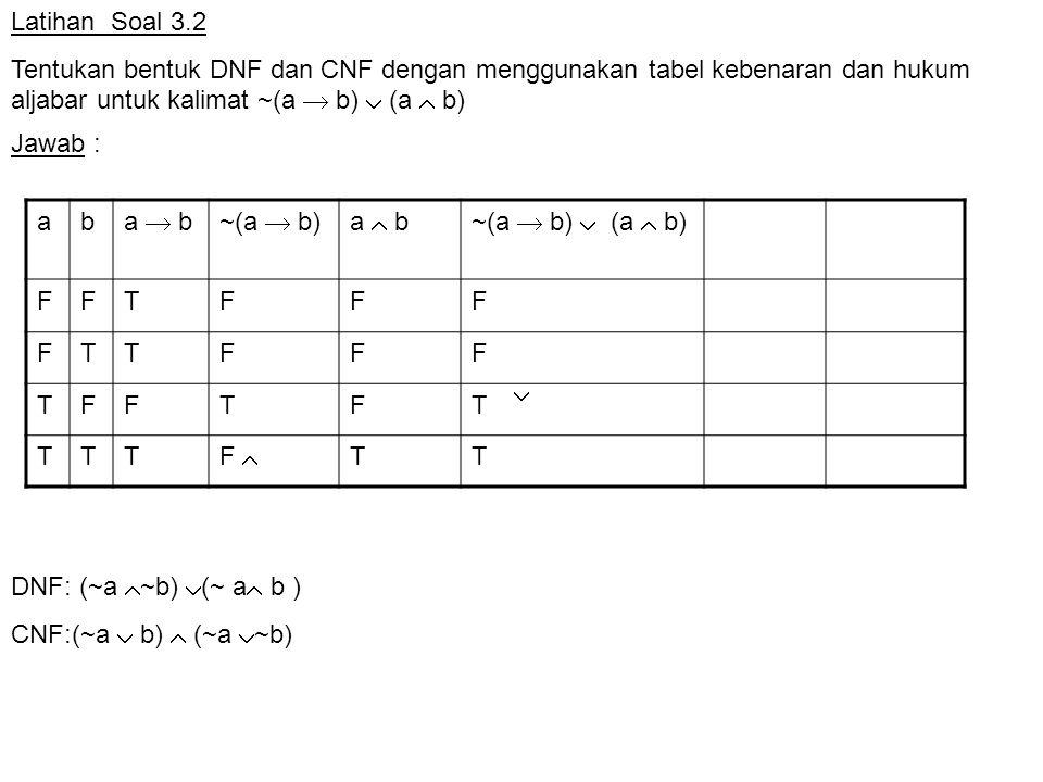 Latihan Soal 3.2 Tentukan bentuk DNF dan CNF dengan menggunakan tabel kebenaran dan hukum aljabar untuk kalimat ~(a  b)  (a  b)
