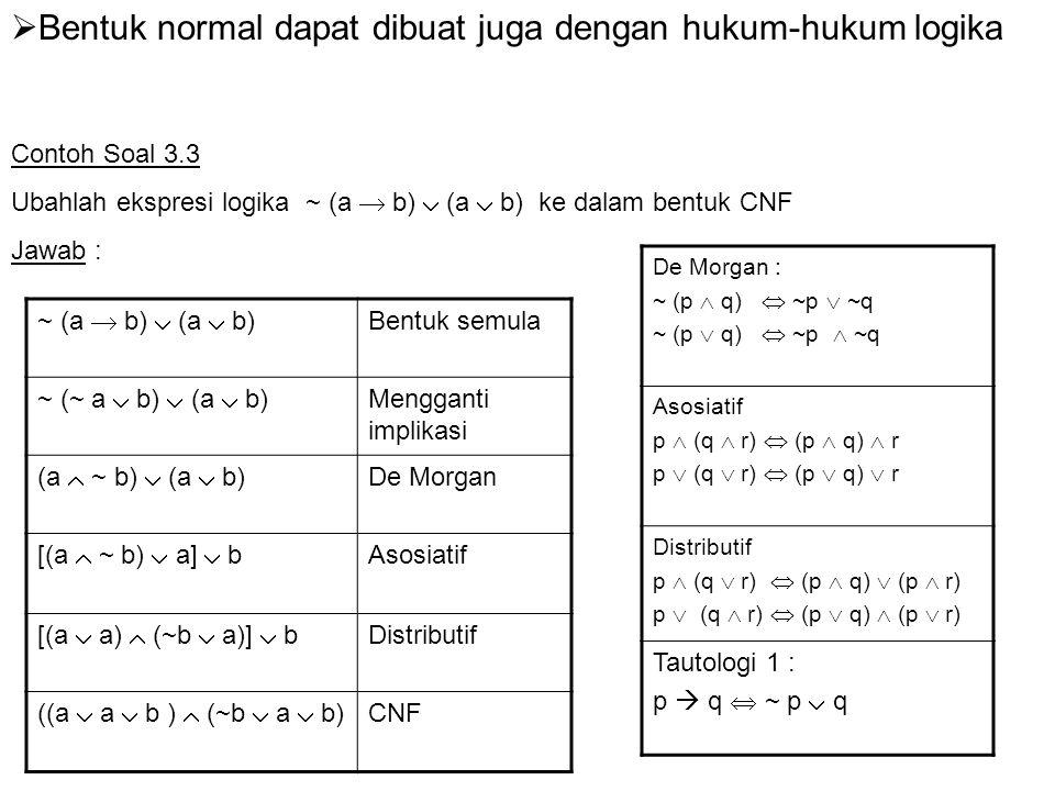 Bentuk normal dapat dibuat juga dengan hukum-hukum logika