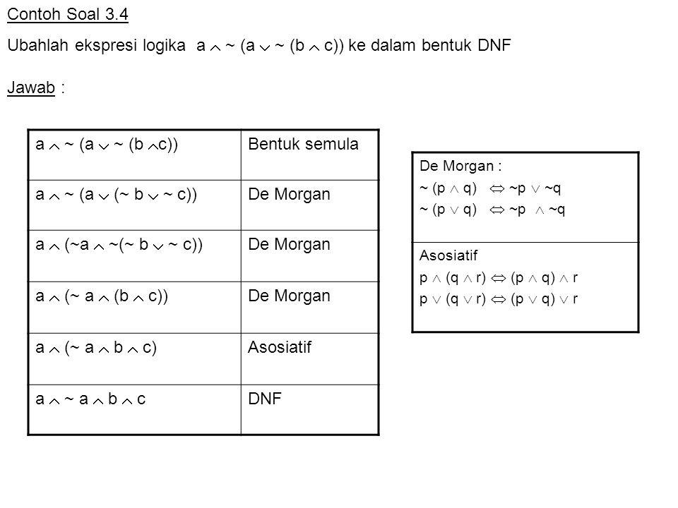 Ubahlah ekspresi logika a  ~ (a  ~ (b  c)) ke dalam bentuk DNF