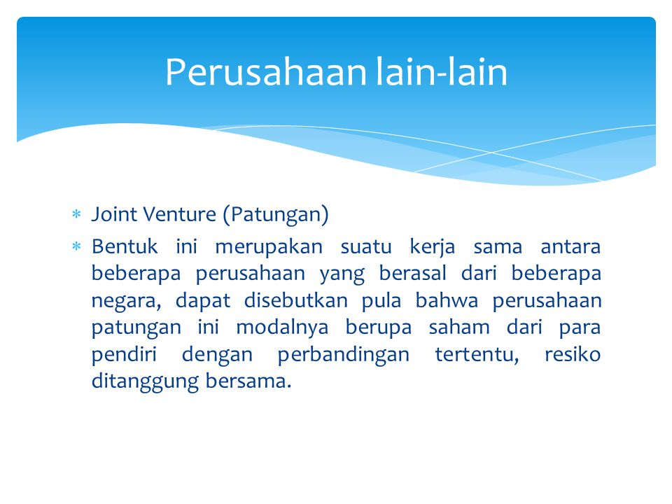 Perusahaan lain-lain Joint Venture (Patungan)