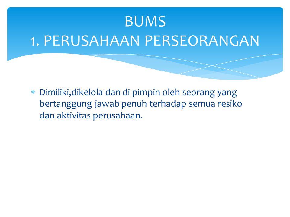 BUMS 1. PERUSAHAAN PERSEORANGAN