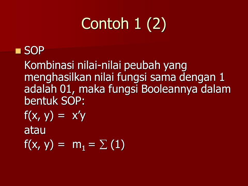 Contoh 1 (2) SOP. Kombinasi nilai-nilai peubah yang menghasilkan nilai fungsi sama dengan 1 adalah 01, maka fungsi Booleannya dalam bentuk SOP:
