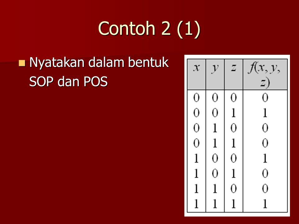 Contoh 2 (1) Nyatakan dalam bentuk SOP dan POS