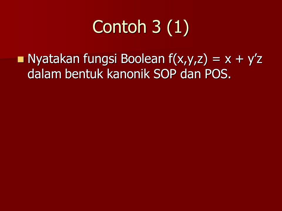 Contoh 3 (1) Nyatakan fungsi Boolean f(x,y,z) = x + y'z dalam bentuk kanonik SOP dan POS.