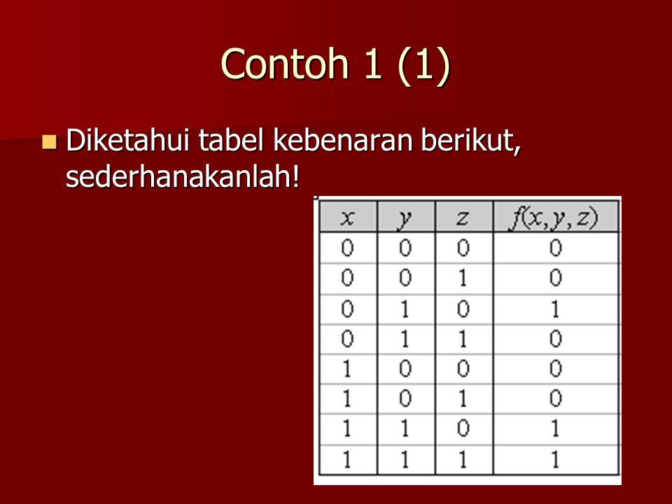 Contoh 1 (1) Diketahui tabel kebenaran berikut, sederhanakanlah!