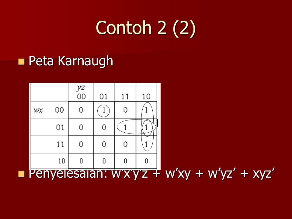 Contoh 2 (2) Peta Karnaugh Penyelesaian: w'x'y'z + w'xy + w'yz' + xyz'
