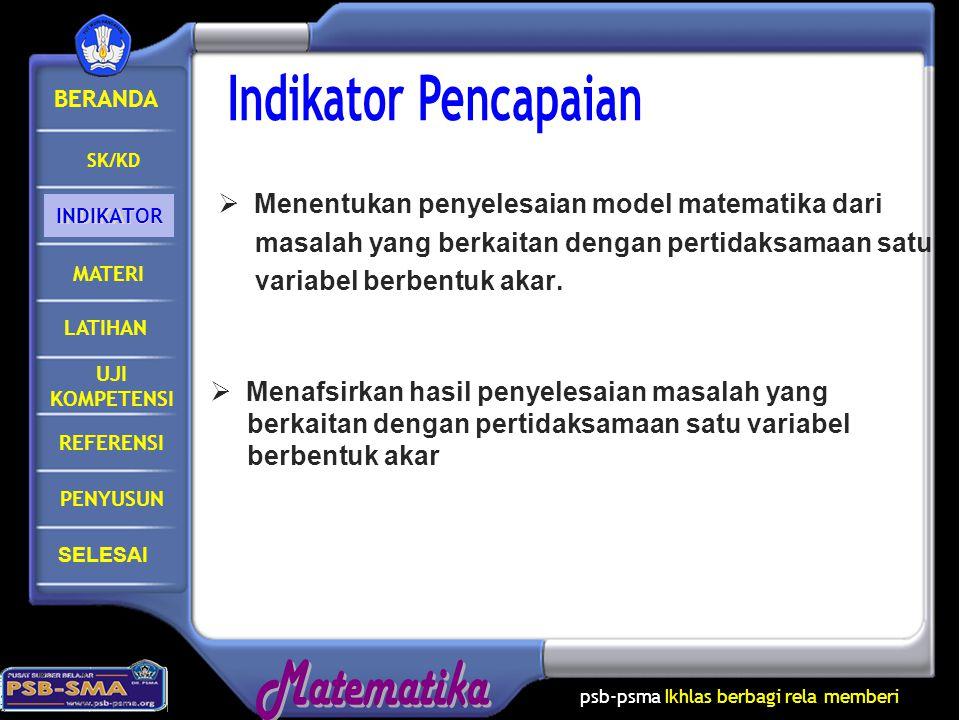 Indikator Pencapaian Menentukan penyelesaian model matematika dari