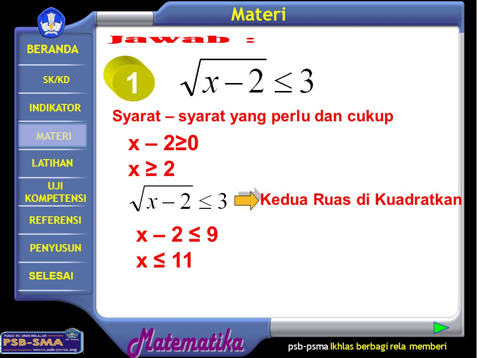 1 Jawab : x – 2≥0 x ≥ 2 x – 2 ≤ 9 x ≤ 11 Materi