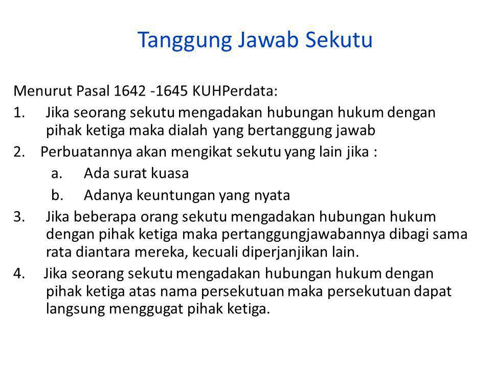 Tanggung Jawab Sekutu Menurut Pasal 1642 -1645 KUHPerdata: