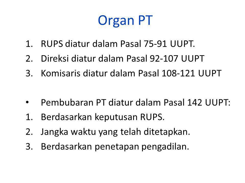 Organ PT RUPS diatur dalam Pasal 75-91 UUPT.