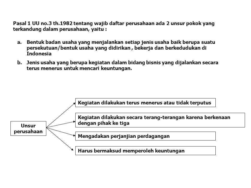 Pasal 1 UU no.3 th.1982 tentang wajib daftar perusahaan ada 2 unsur pokok yang terkandung dalam perusahaan, yaitu :