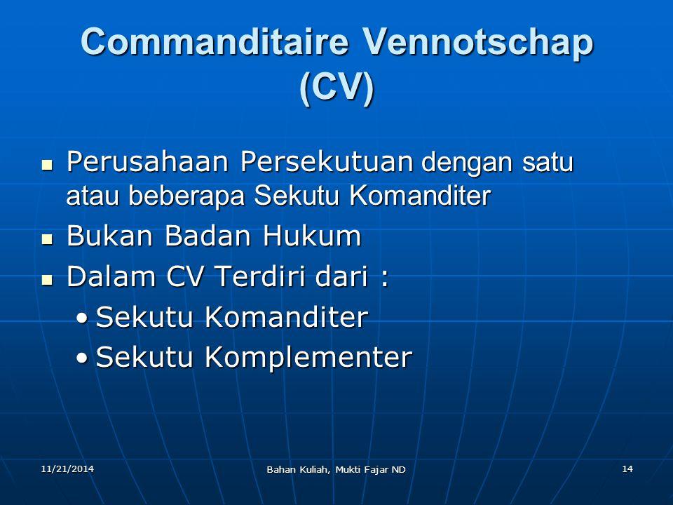 Commanditaire Vennotschap (CV)