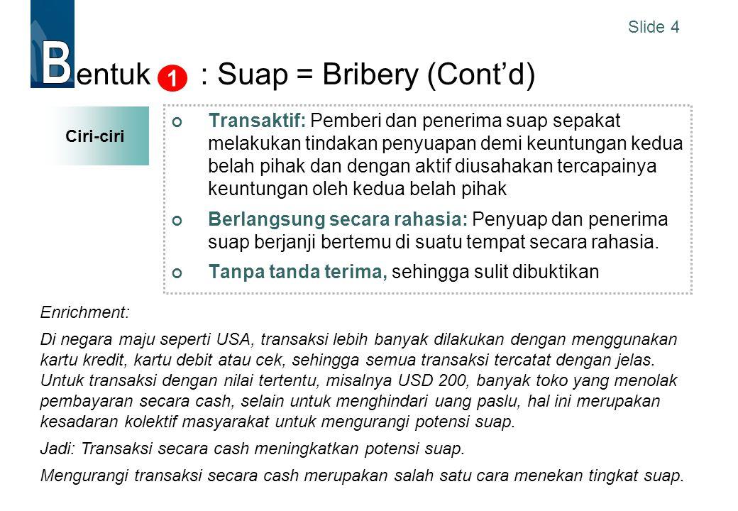 entuk : Suap = Bribery (Cont'd)
