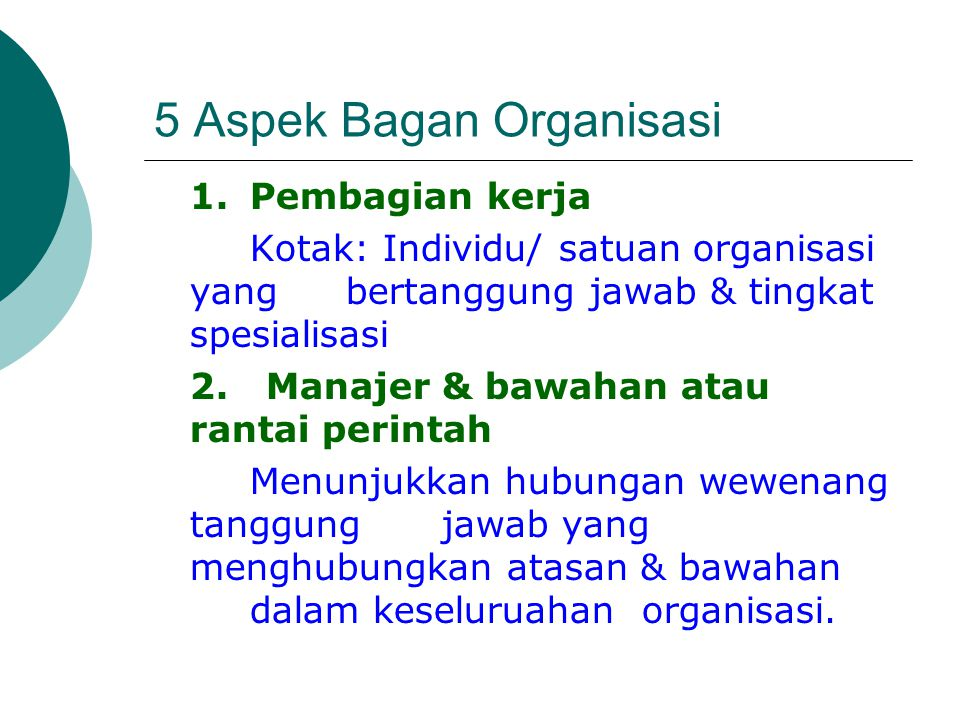 5 Aspek Bagan Organisasi