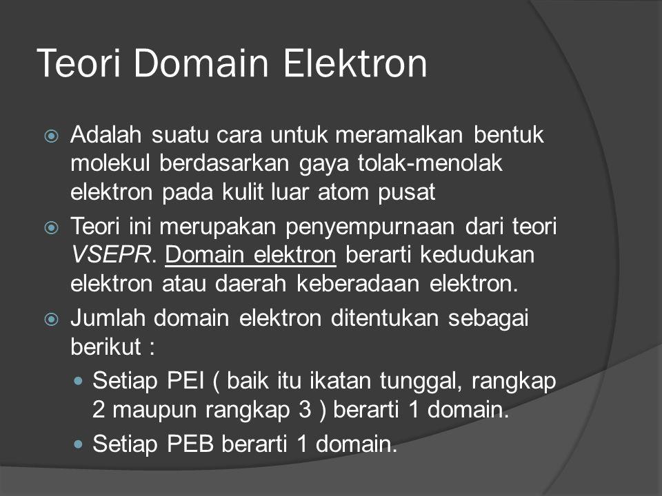 Teori Domain Elektron Adalah suatu cara untuk meramalkan bentuk molekul berdasarkan gaya tolak-menolak elektron pada kulit luar atom pusat.