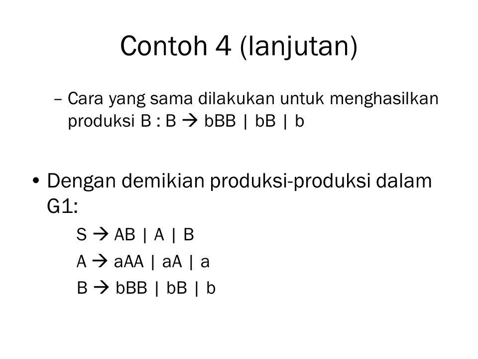 Contoh 4 (lanjutan) Dengan demikian produksi-produksi dalam G1: